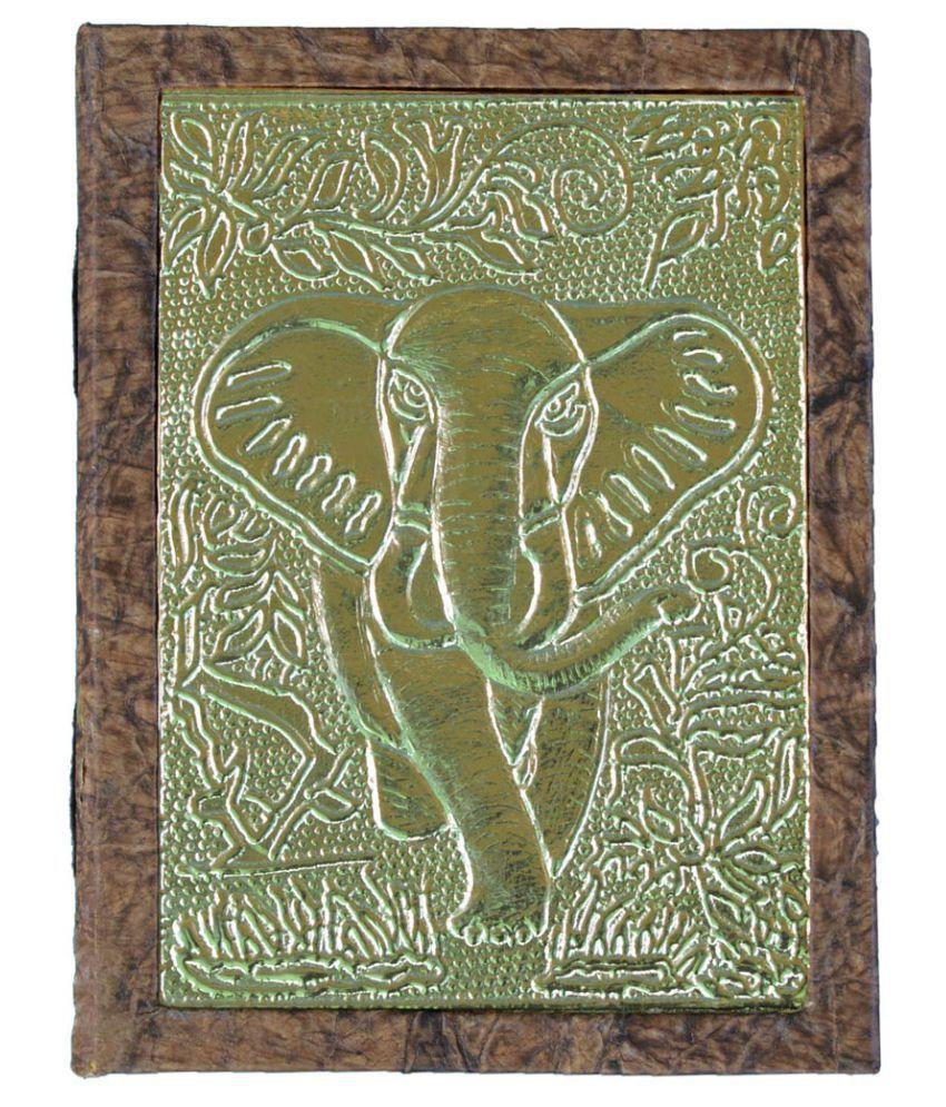 Giant Elephant Metal Work Handmade Paper Diary, Eco-Friendly, (20 x15 x 2.5) Cm