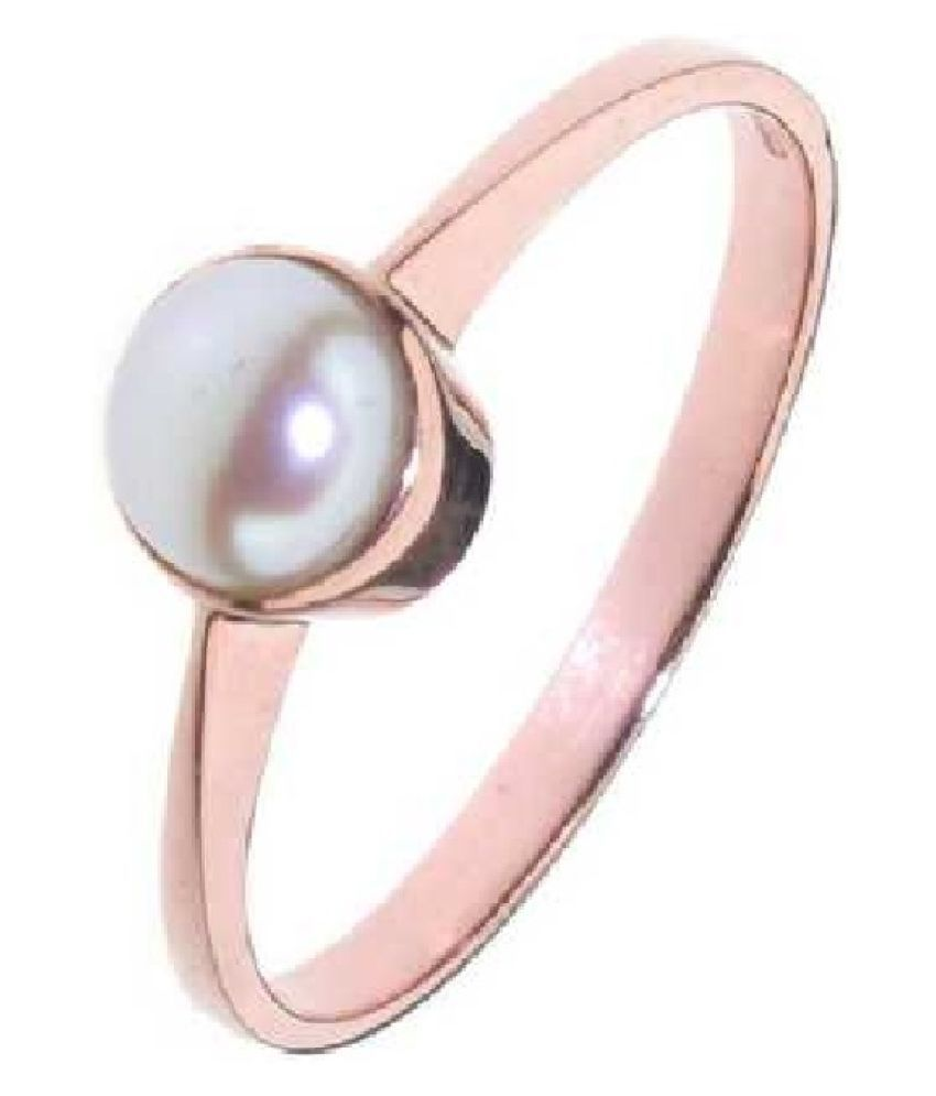 Pearl RING(Anguthi)5 Ratti 100% Original Gold Plated Pearl Stone by Ratan Bazaar