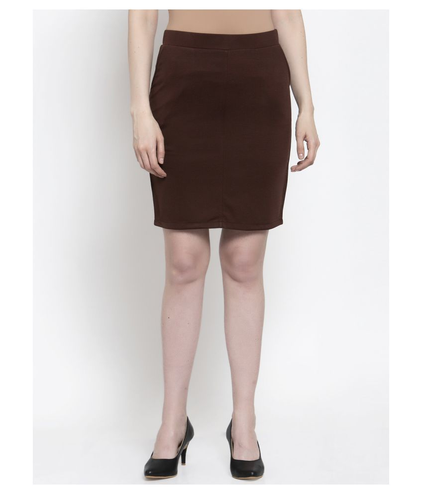 Westwood Cotton Straight Skirt - Brown