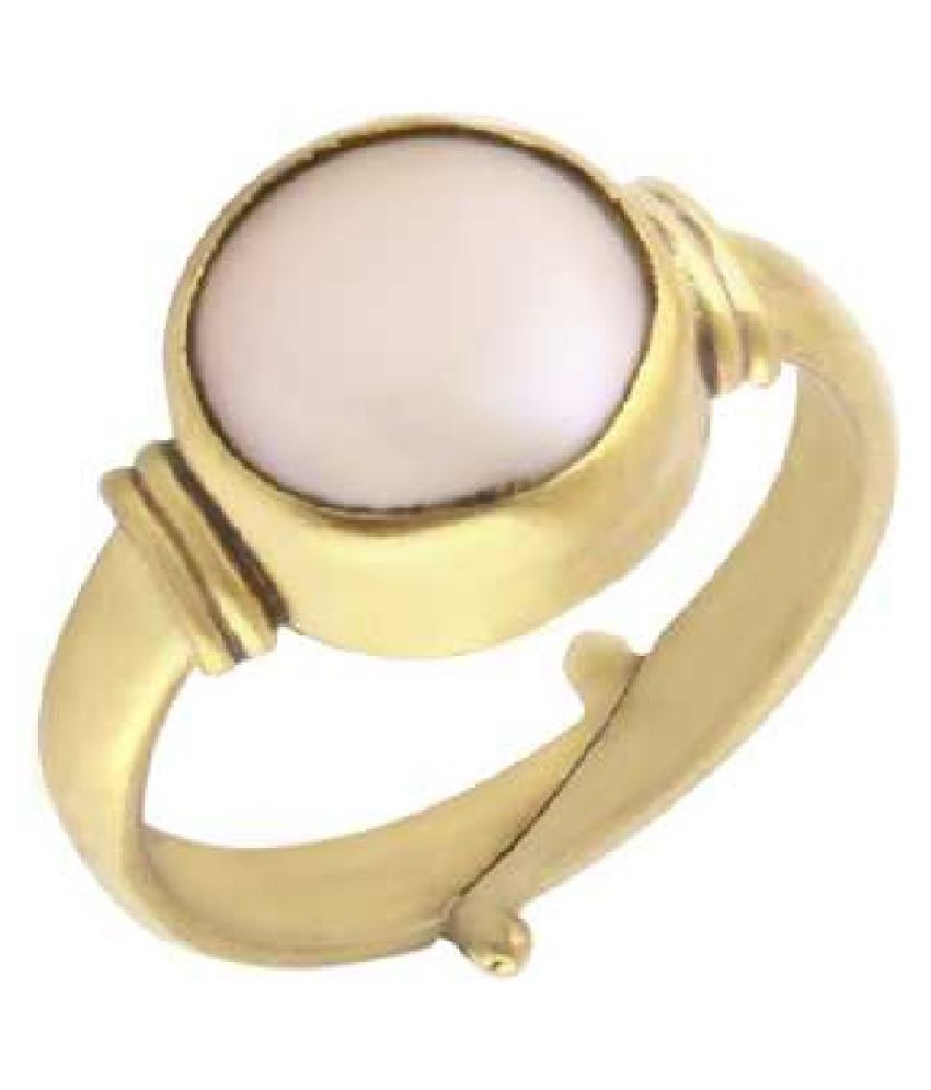 6.25 ratti Natural Pearl Stone Unheated Lab Certified pure Gold Plated  RING(Anguthi) by Ratan Bazaar\n