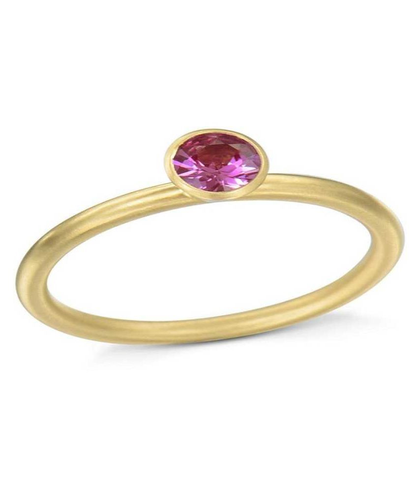 7 Ratti PINK SAPPHIRE  RING(ANGUTHI) Natural   GOLD PLATED   Stone RING(ANGUTHI) by KUNDLI GEMS