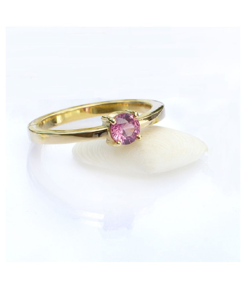 8.5 Carat Stone PINK SAPPHIRE  GOLD PLATED   RING(ANGUTHI) for unisex by KUNDLI GEMS\n