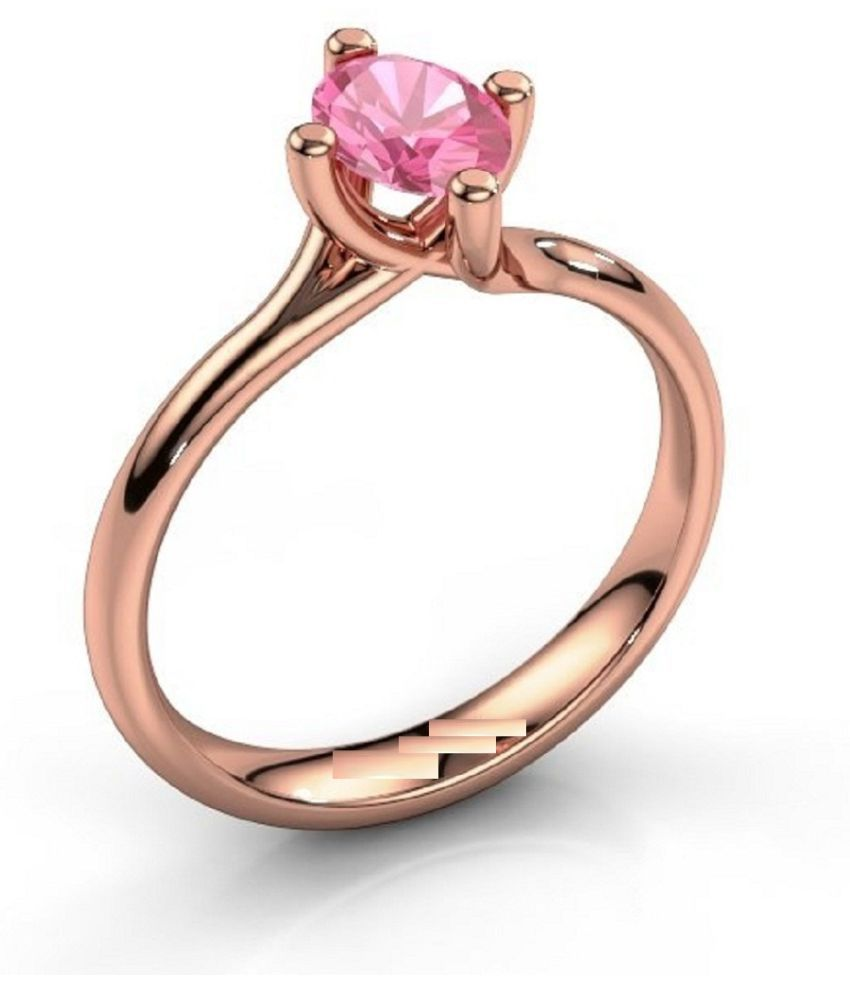 8 ratti  GOLD PLATED   PINK SAPPHIRE RING(ANGUTHI) for unisex by KUNDLI GEMS\n