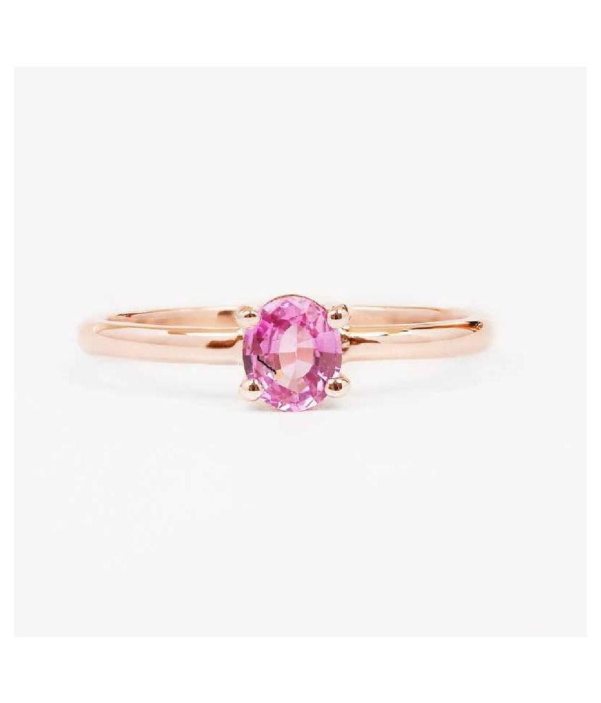 9.5 Ratti   GOLD PLATED   PINK SAPPHIRE  Stone RING(ANGUTHI) by KUNDLI GEMS