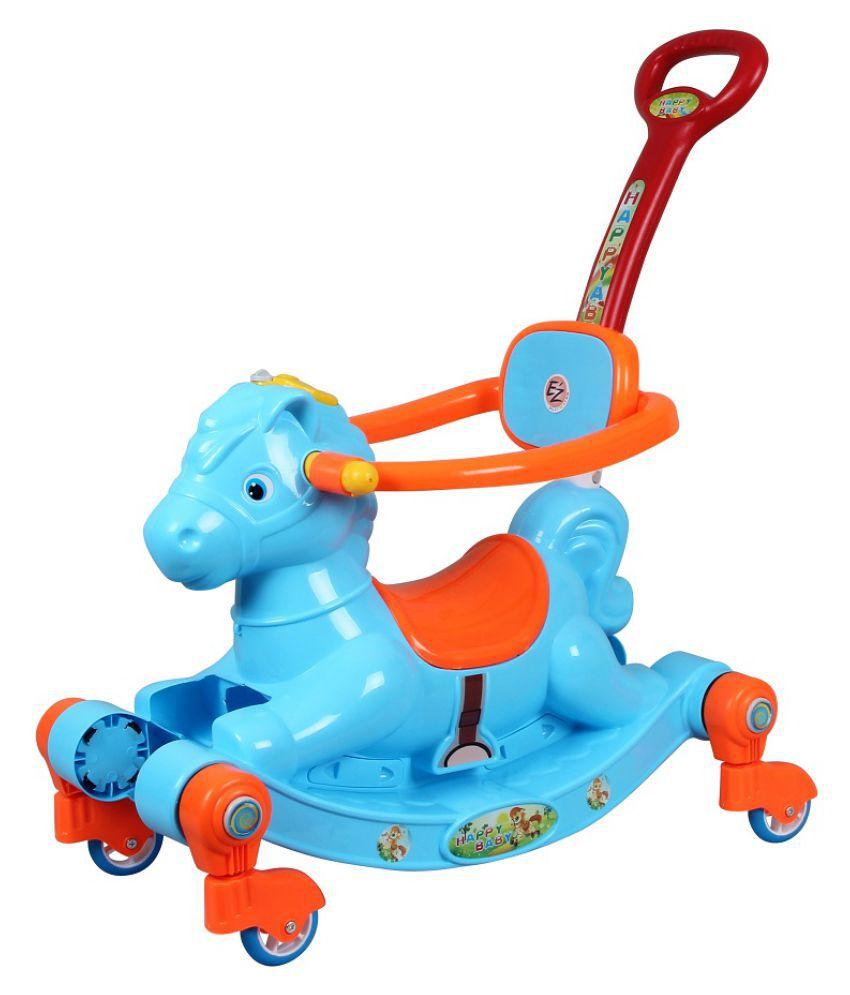 EZ' Playmates Happy Horse rocker cum manual push-pull ride on with navigator - Blue