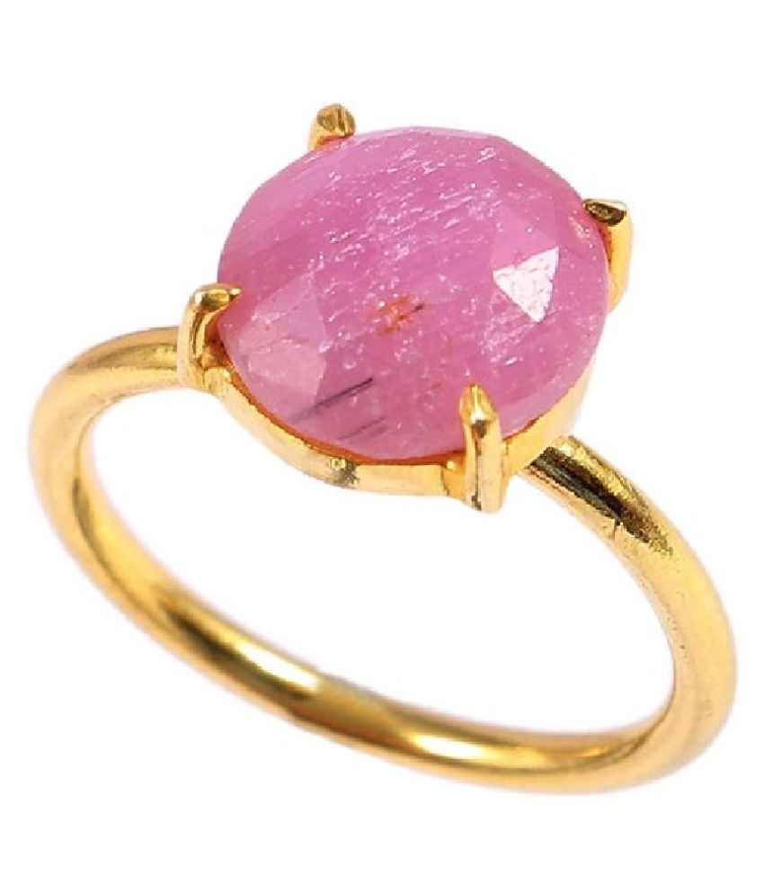PINK SAPPHIRE  GOLD PLATED   RING(ANGUTHI) 8.5 ratti by KUNDLI GEMS