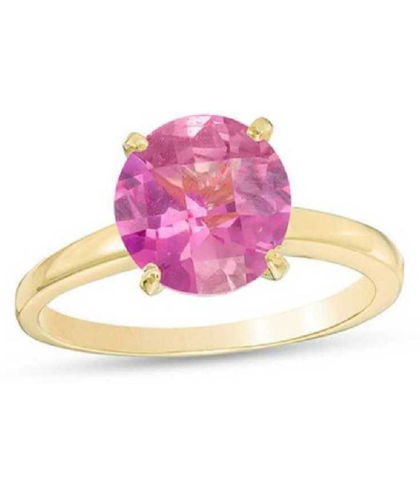 PINK SAPPHIRE  original & lab certified 6 ratti  GOLD PLATED   RING(ANGUTHI) for astrological purpose by KUNDLI GEMS\n