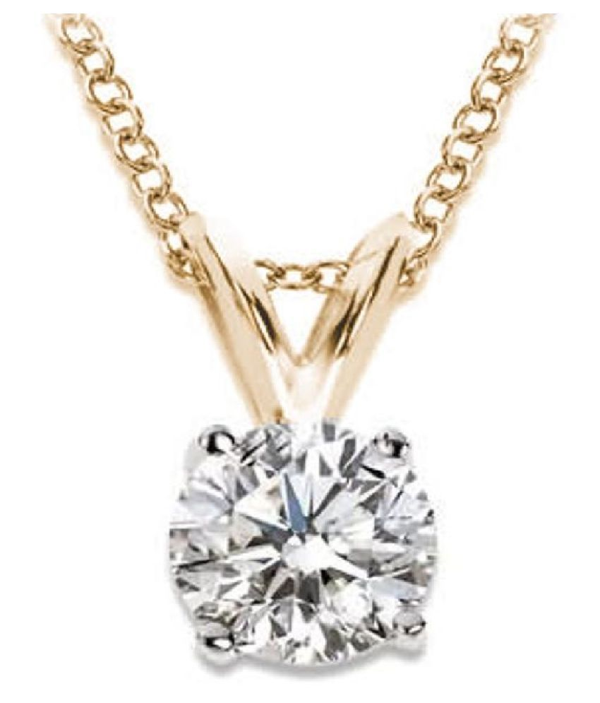 7.25 Ratti Zircon  pure Gold Plated Pendant for Unisex by  Ratan Bazaar\n
