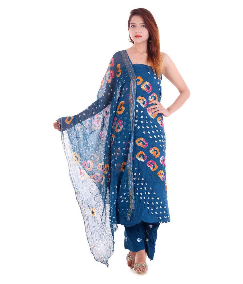Apratim Blue Cotton Unstitched Dress Material