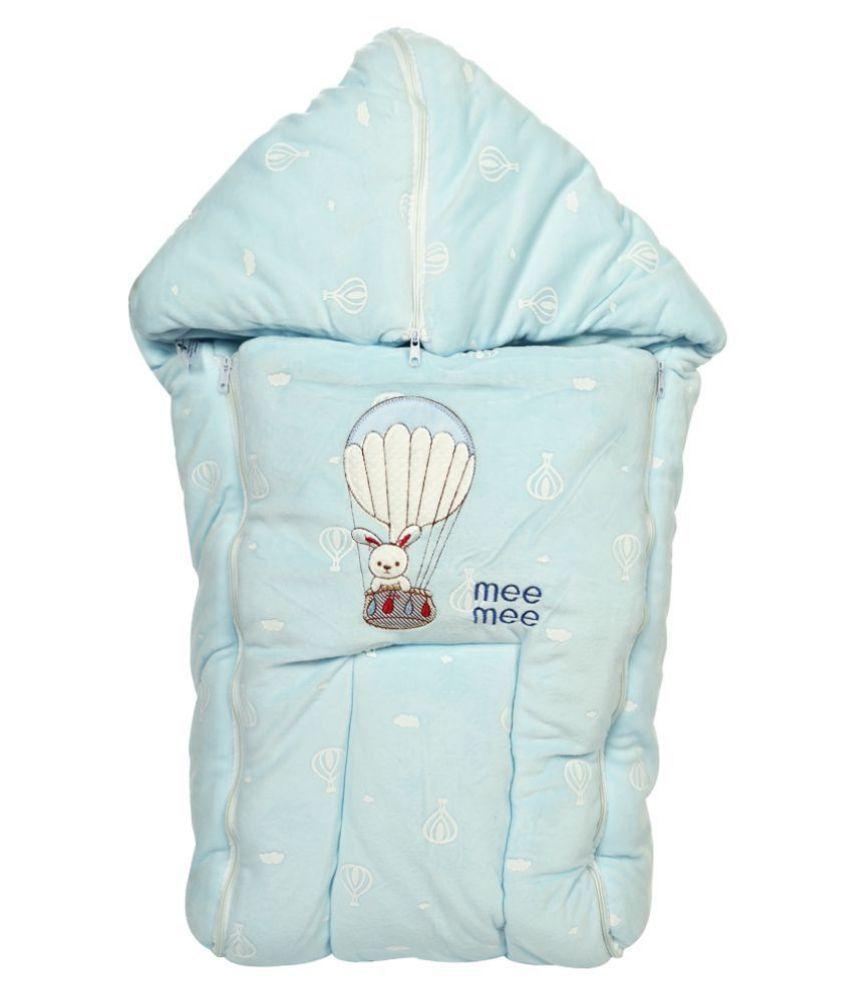 Mee Mee Blue Cotton Baby Wrap cum blanket ( 42 cm × 2 cm - 1 pcs)