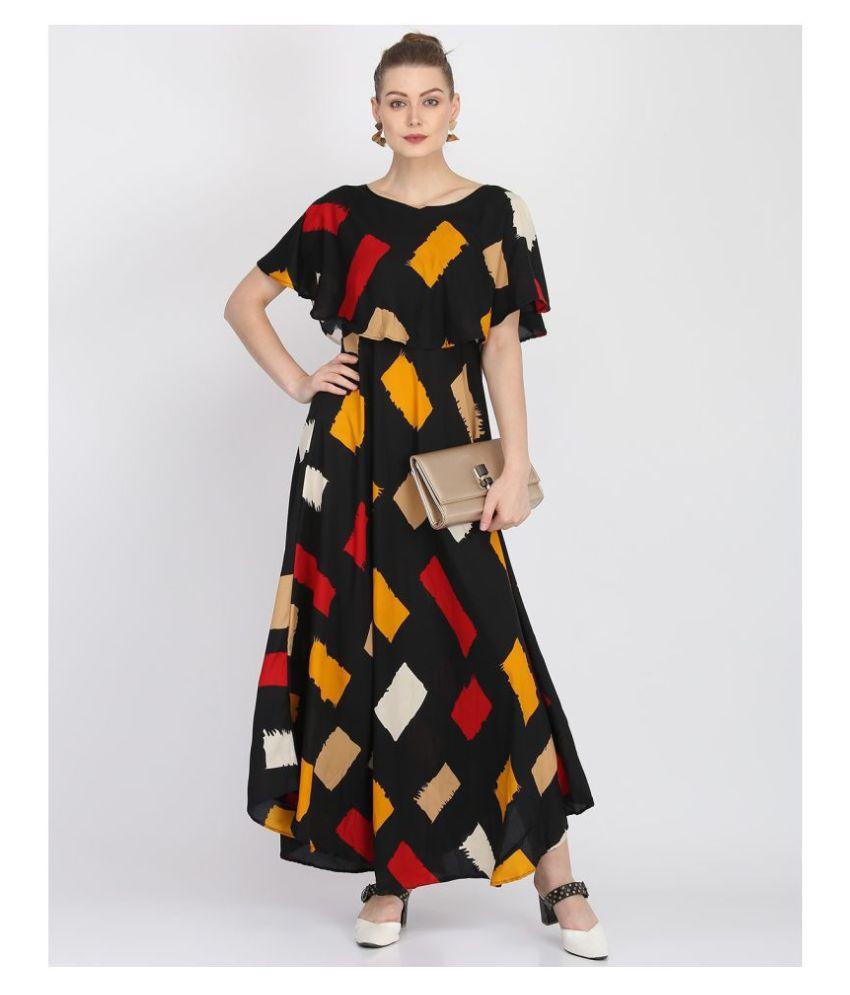 O Madam Crepe Multi Color Fit And Flare Dress