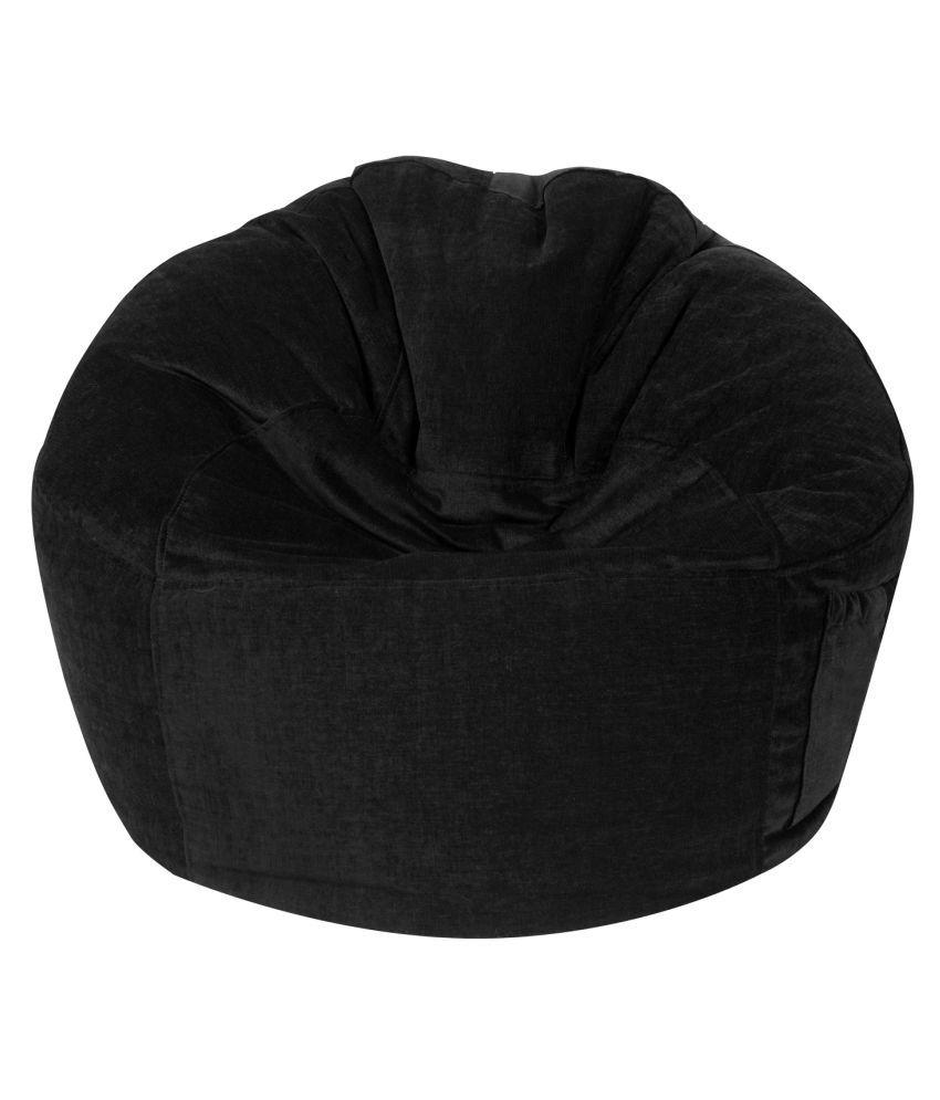 The Bean Bag Theory Premium Fabric Black Sofa Chair Jumbo Bean Bag Cover ( Without Beans )