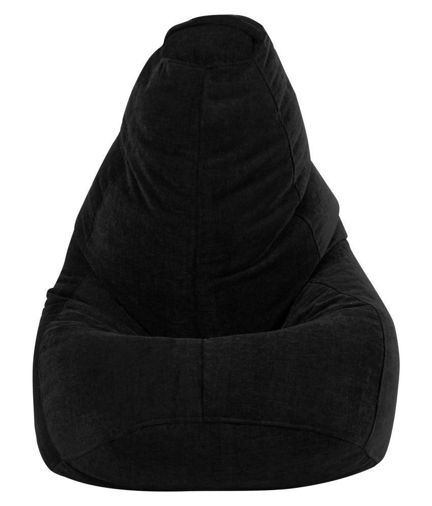 The Bean Bag Theory Premium Fabric Black Tear Drop Jumbo Bean Bag Cover ( Without Beans )