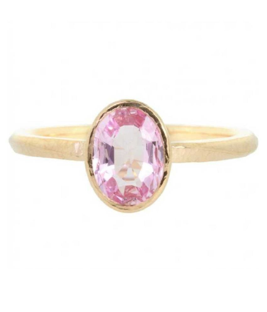 5 carat pure PINK SAPPHIRE  GOLD PLATED RING(ANGUTHI) by RATAN BAZAAR \n