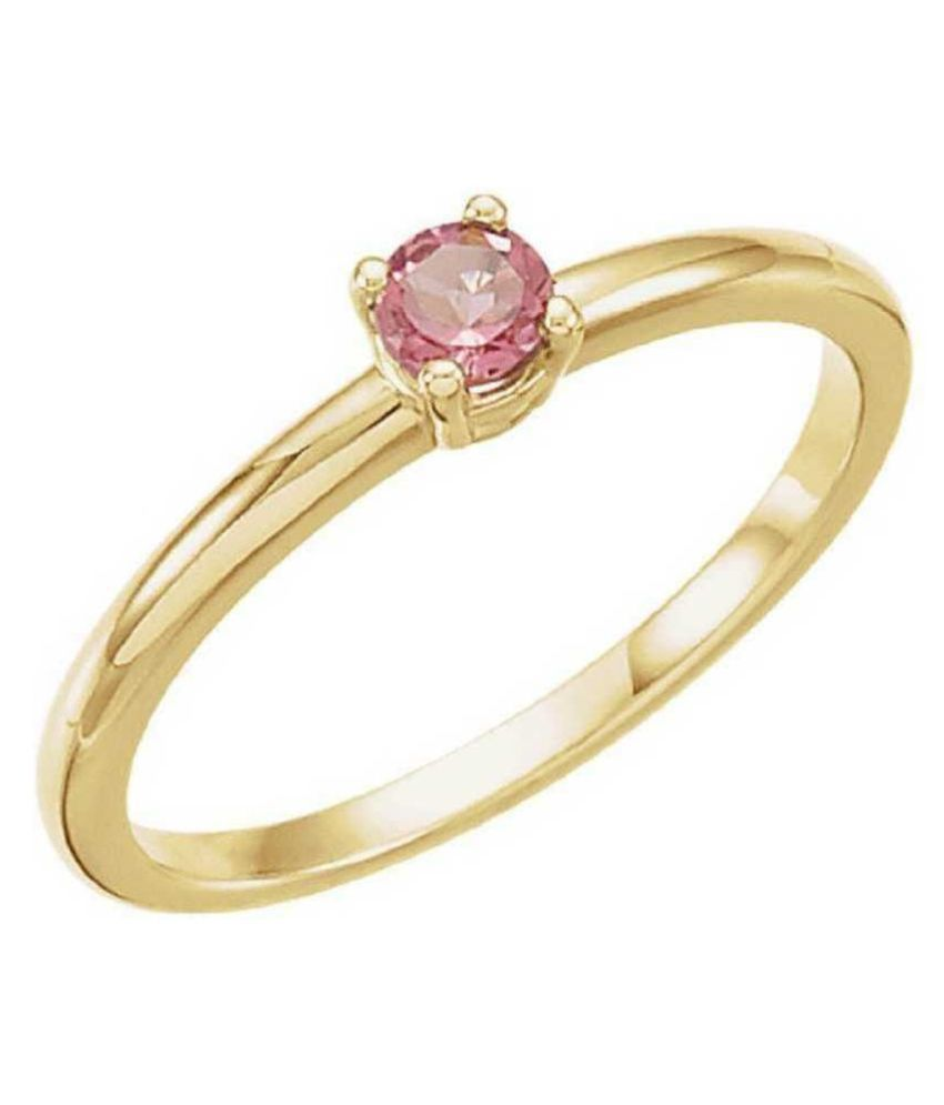 6.25 Carat Stone PINK SAPPHIRE GOLD PLATED RING(ANGUTHI) for unisex by RATAN BAZAAR\n