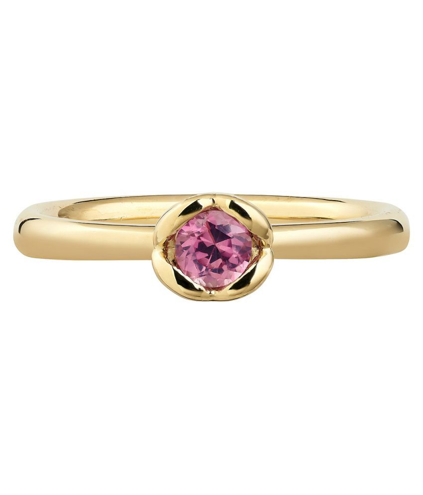 6.5 Ratti PINK SAPPHIRE  RING(ANGUTHI) with Natural Gold plated PINK SAPPHIRE  Stone by RATAN BAZAAR