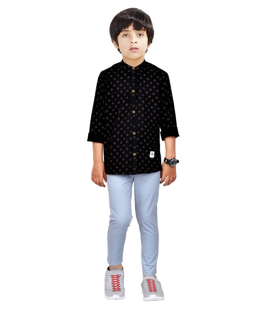 Made In The Shade Boy's Cotton Chinese Collar Shirt And Cotton Adjustable Trouser
