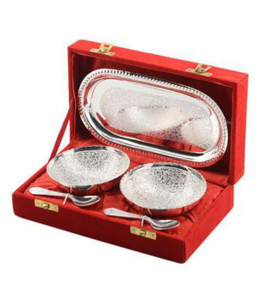 CREATIVE ARTS Silver Brass Decoratives Bowls  amp; Plates   Pack of 1