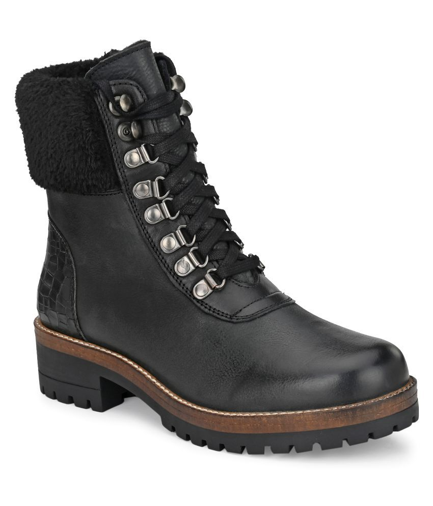 Delize Black Ankle Length Casual Boots