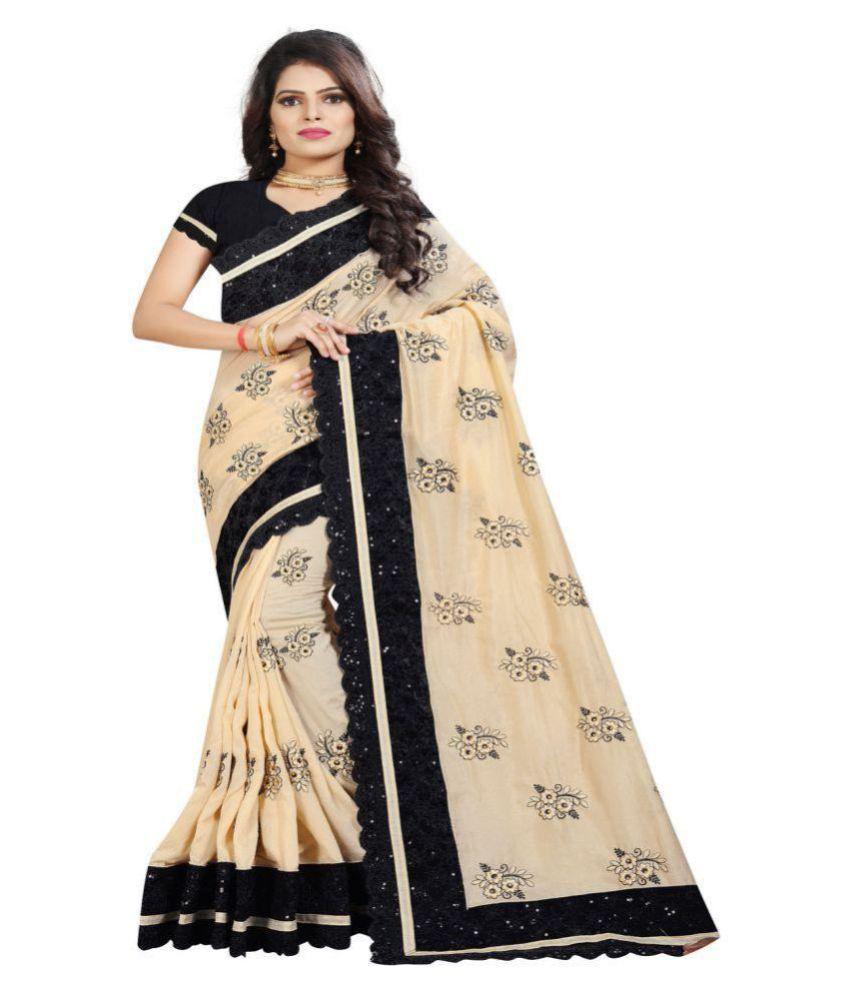 Designer Bahu Beige,Black Art Silk Saree