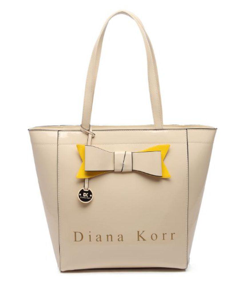 Diana Korr Beige Faux Leather Shoulder Bag
