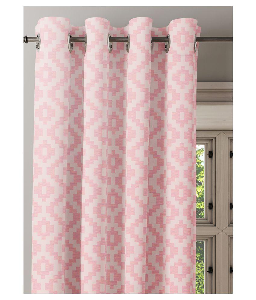 Ixora Decor Set of 2 Window Semi-Transparent Eyelet Cotton Curtains Pink