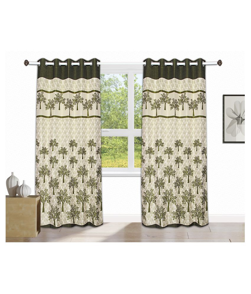 Tanyugg Single Window Semi-Transparent Eyelet Jute Curtains Green