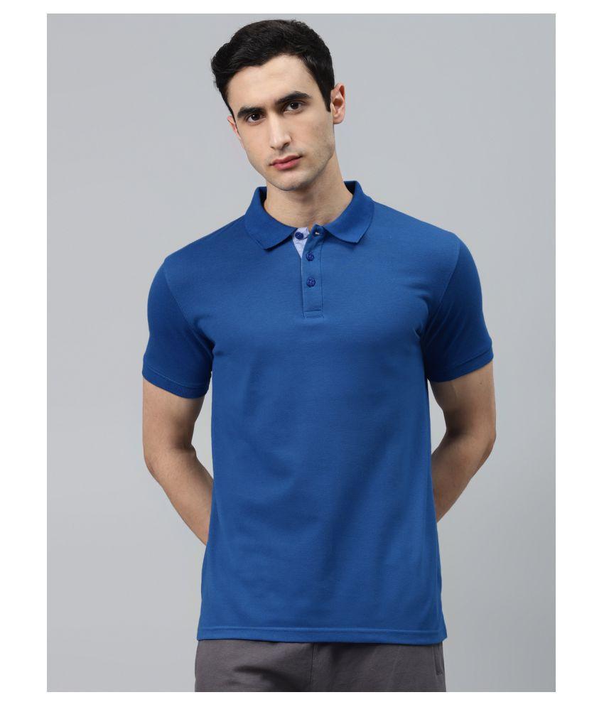 Alcis Blue Cotton Polo T-Shirt