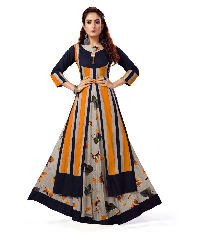 Madhuram Textiles Multicoloured Rayon Anarkali Kurti