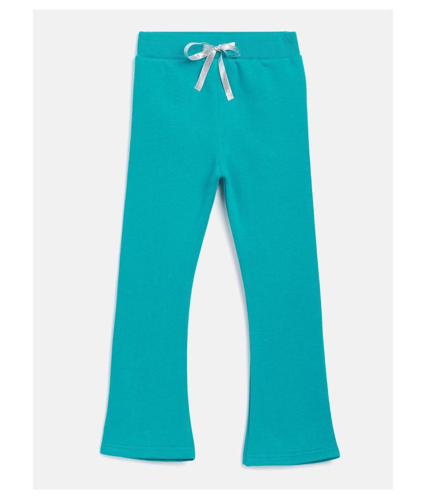 Peek a boo zoo Fleece Embellished Solid Blue Casual Girls Tights/Pants