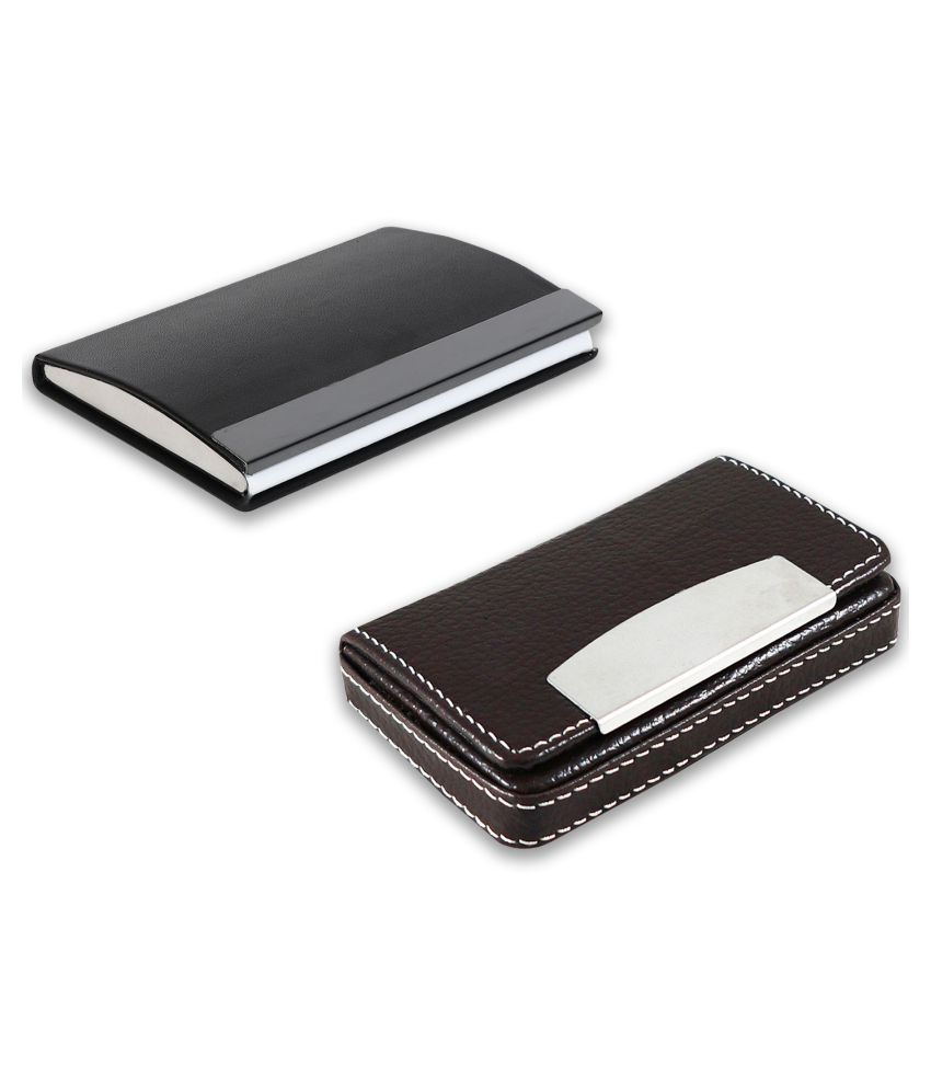 auteur 15-19  Multicolor Artificial Leather Professional Looking Visiting Card Holders for Men and Women Set of 2 (upto 15 Cards Capacity)