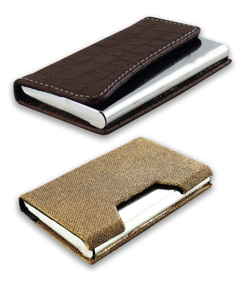 auteur 16-25  Multicolor Artificial Leather Professional Looking Visiting Card Holders for Men and Women Set of 2 (upto 15 Cards Capacity)