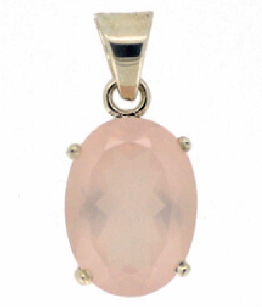 6 Carat Stone Rose quartz Gold Plated Pendant for unisex by Ratan Bazaar \n