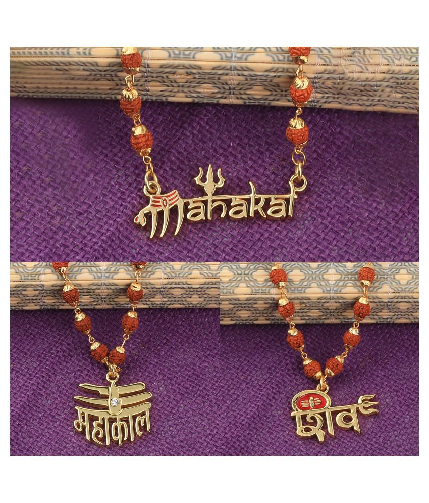 Gold Plated Traditional Combo Rudraksh Mala Pendant for Men and Women-set 3