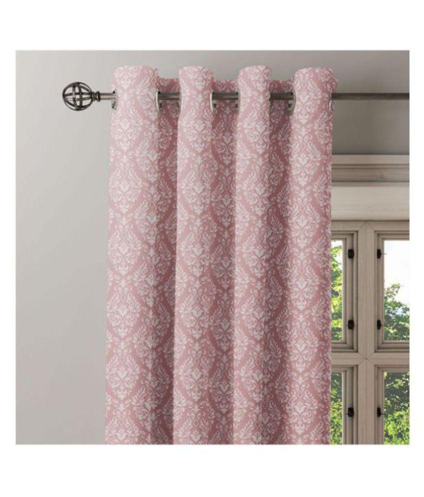Ixora Decor Single Door Eyelet Cotton Curtains Pink