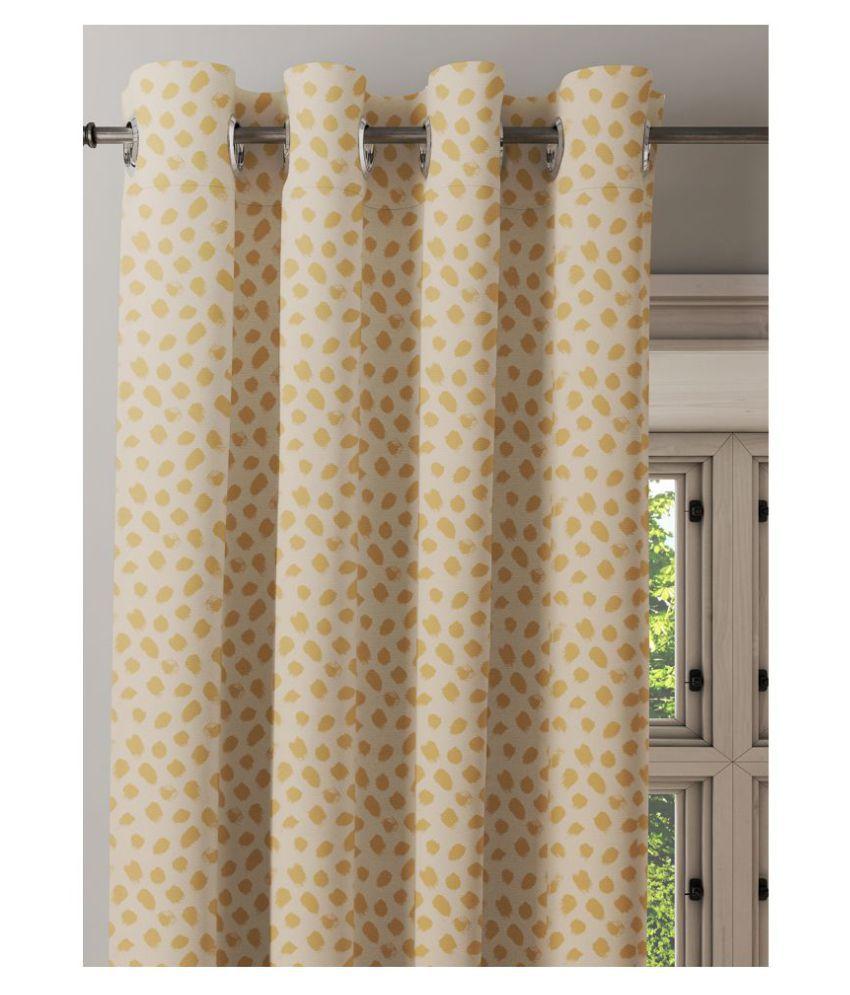 Ixora Decor Single Door Semi-Transparent Eyelet Cotton Curtains Mustard