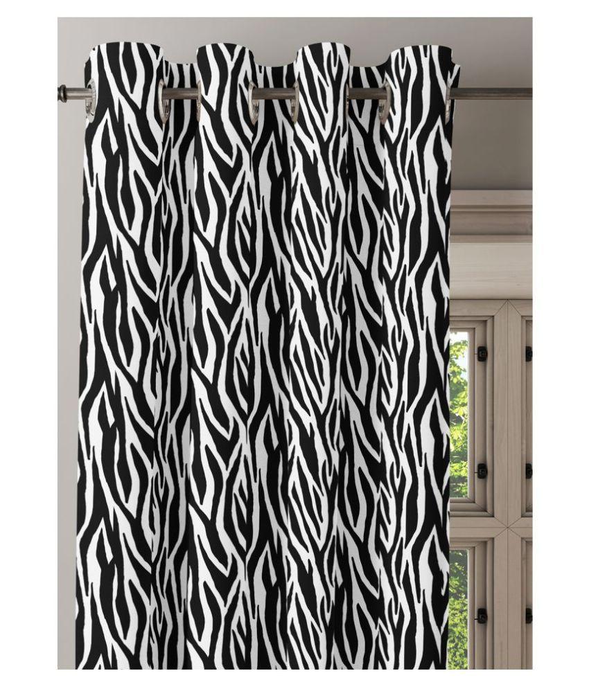 Ixora Decor Single Door Semi-Transparent Eyelet Cotton Curtains Black