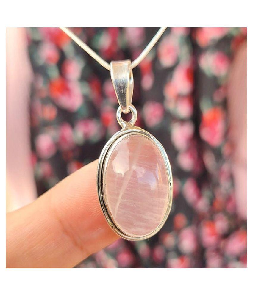 Pendant 5.5 ratti Natural Rose quartz Silver Pendant by Ratan Bazaar