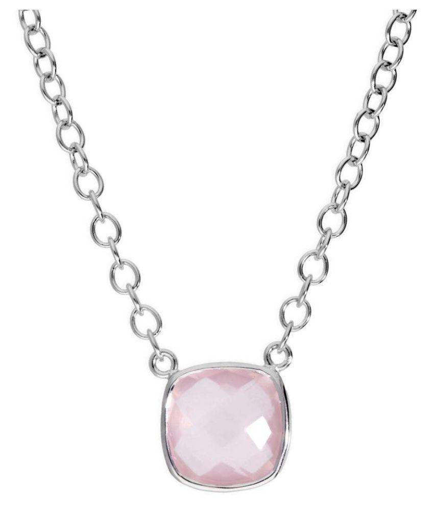 Rose quartz original & lab certified 8 ratti silver Pendant for astrological purpose by Ratan Bazaar \n