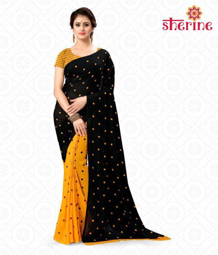 Sherine Black,Yellow Polka Print Saree (Fabric- Poly Georgette)