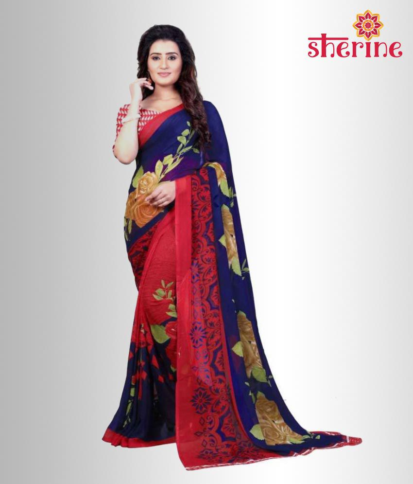 Sherine Blue,Red Printed Saree (Fabric- Poly Georgette)