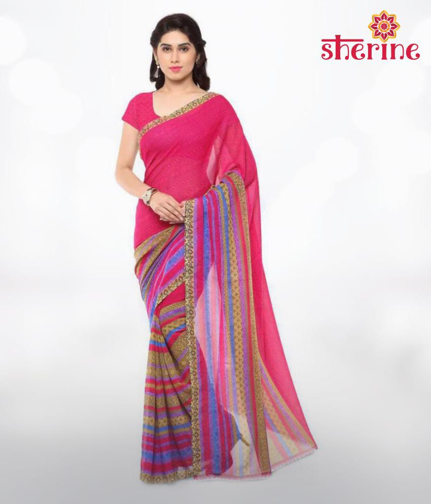 Sherine Pink Printed Saree (Fabric- Poly Georgette)