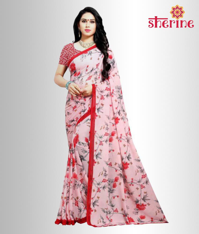 Sherine Pink Floral Printed Saree (Fabric- Poly Georgette)