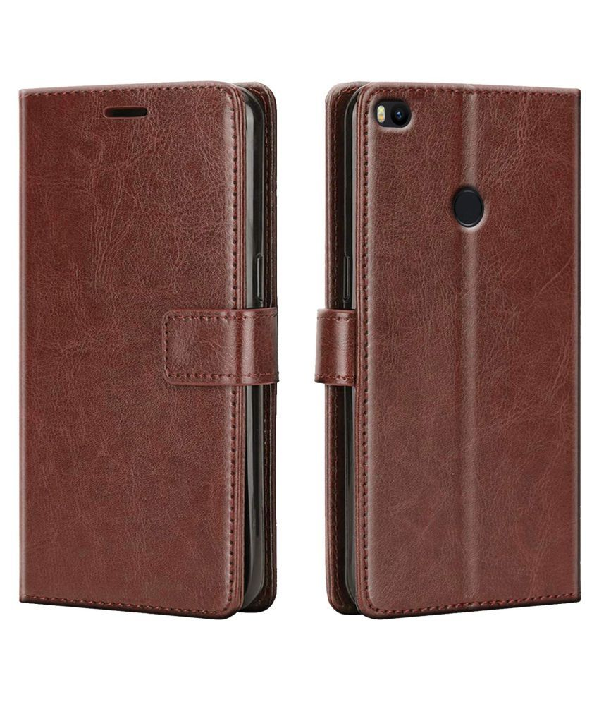 XIAOMI MI MAX 2 Flip Cover by Shining Stars   Brown Viewing Stand and pocket