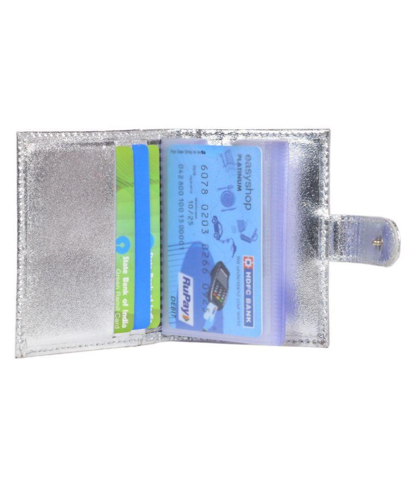 Genuine Leather Silver 20 Credit Card Holder