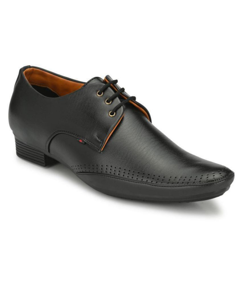 Leeport Derby Artificial Leather Black Formal Shoes