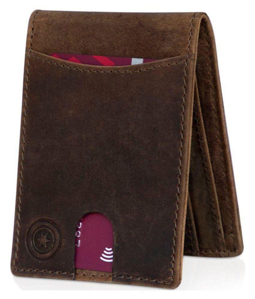 POLLSTAR Leather Brown Formal Short Wallet