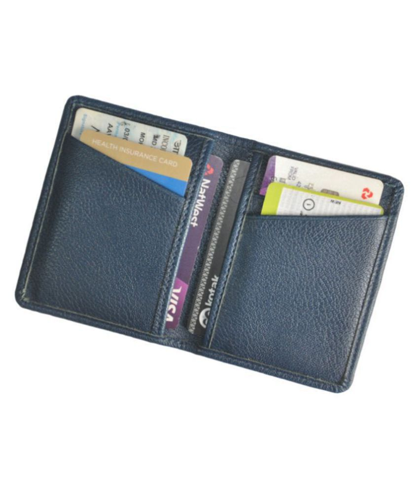 Slim Blue Artificial Leather Credit Card Holder with 6 Slots
