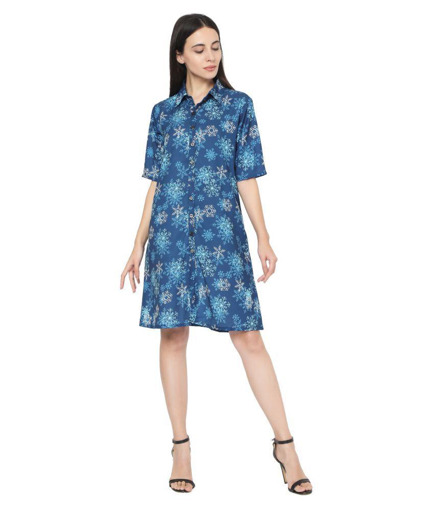 Smarty Pants Polyester Blue Shirt Dress