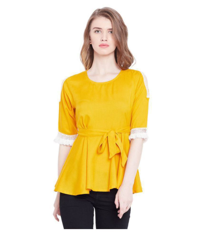 The Dry State Cotton Regular Tops - Yellow